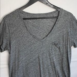 Madewell Gray 100% Cotton V Neck with Pocket